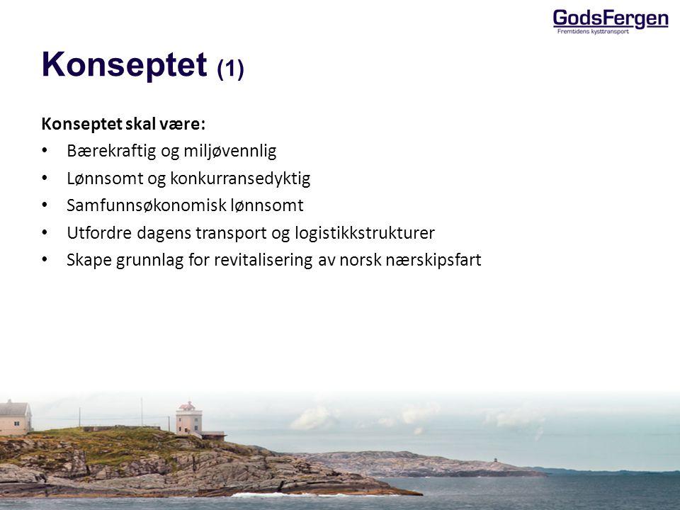 Konseptet (2) GodsFergen-konseptet dekker: – Forretningsmodell – Logistikkonsept – Skipsløsning Primære kunder er speditører og store vareeiere Dekker terminal-til-terminal evt.