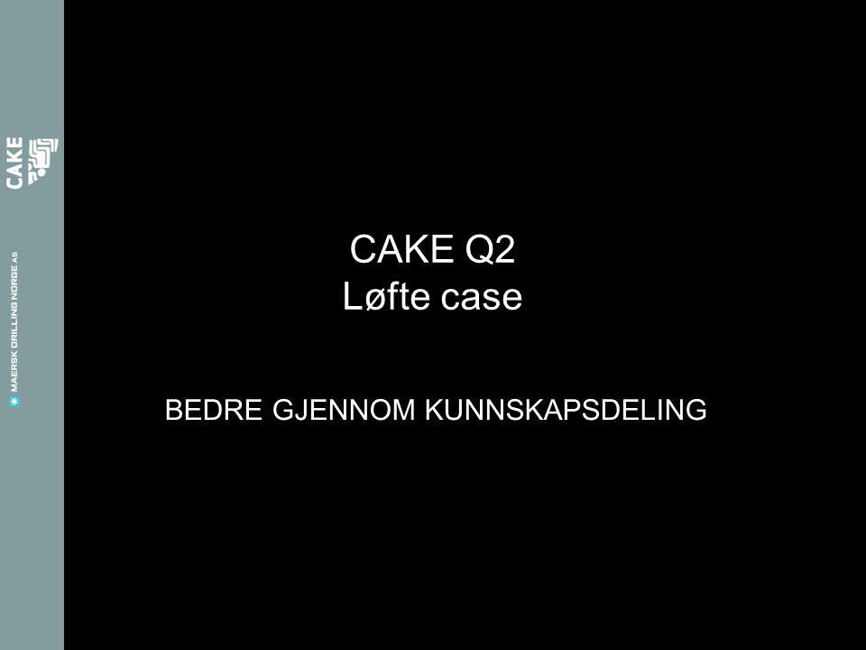 BEDRE GJENNOM KUNNSKAPSDELING CAKE Q2 Løfte case