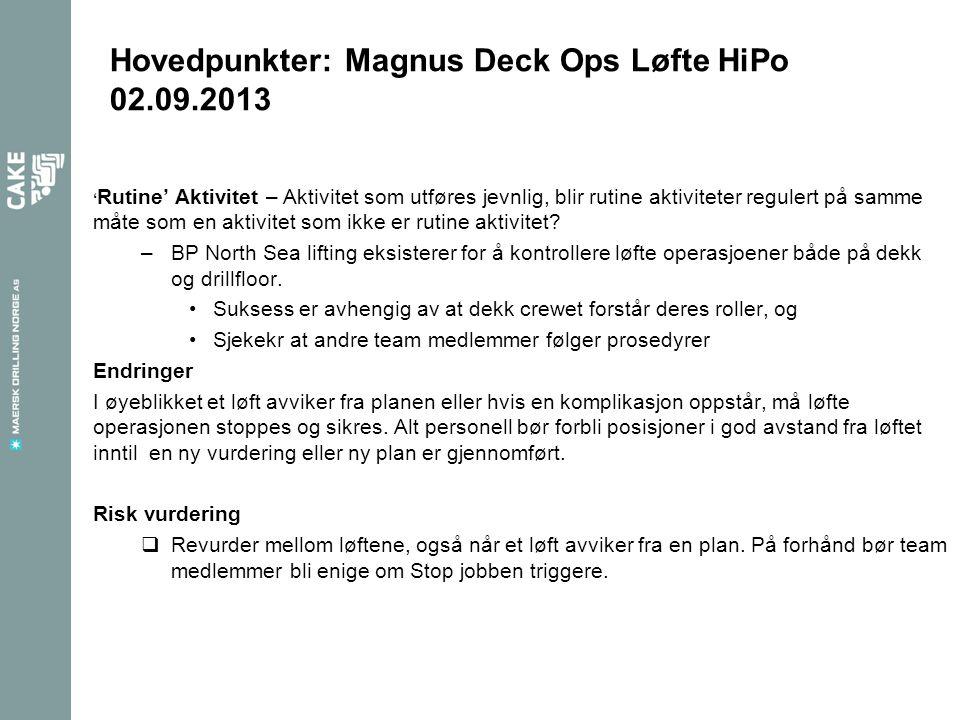 Hovedpunkter: Magnus Deck Ops Løfte HiPo 02.09.2013 Last ble posisjonert før Load Handler stod på en trygg plass.