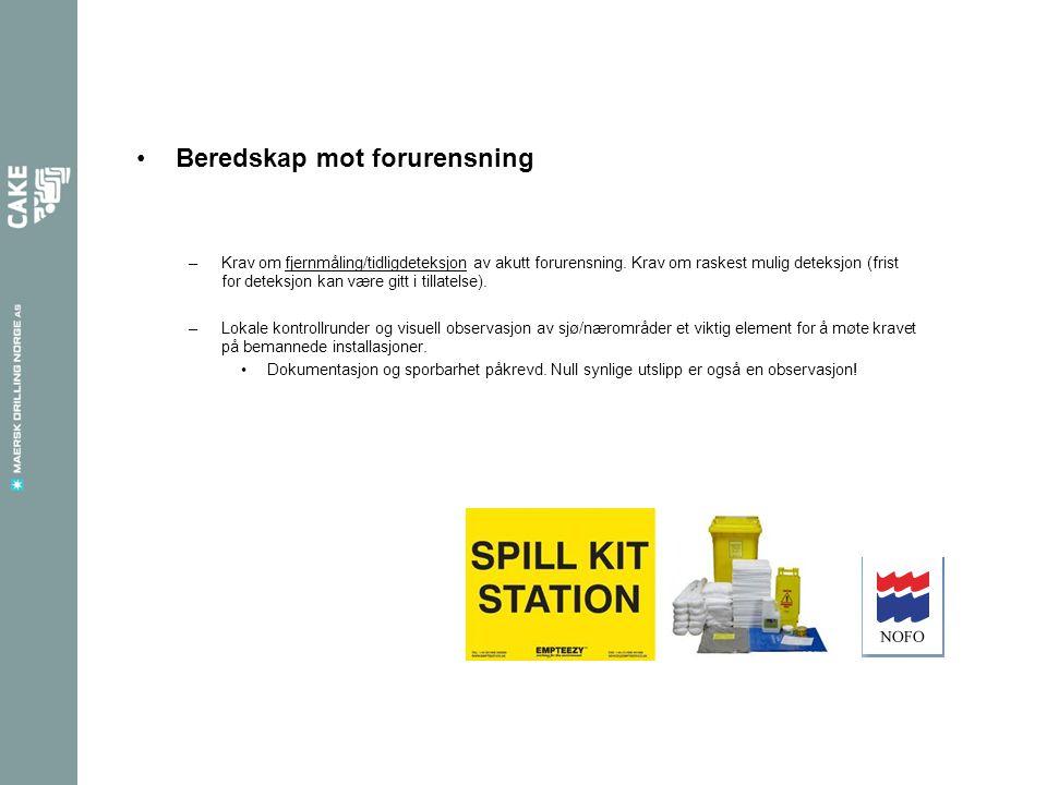 Beredskap mot forurensning –Krav om fjernmåling/tidligdeteksjon av akutt forurensning.