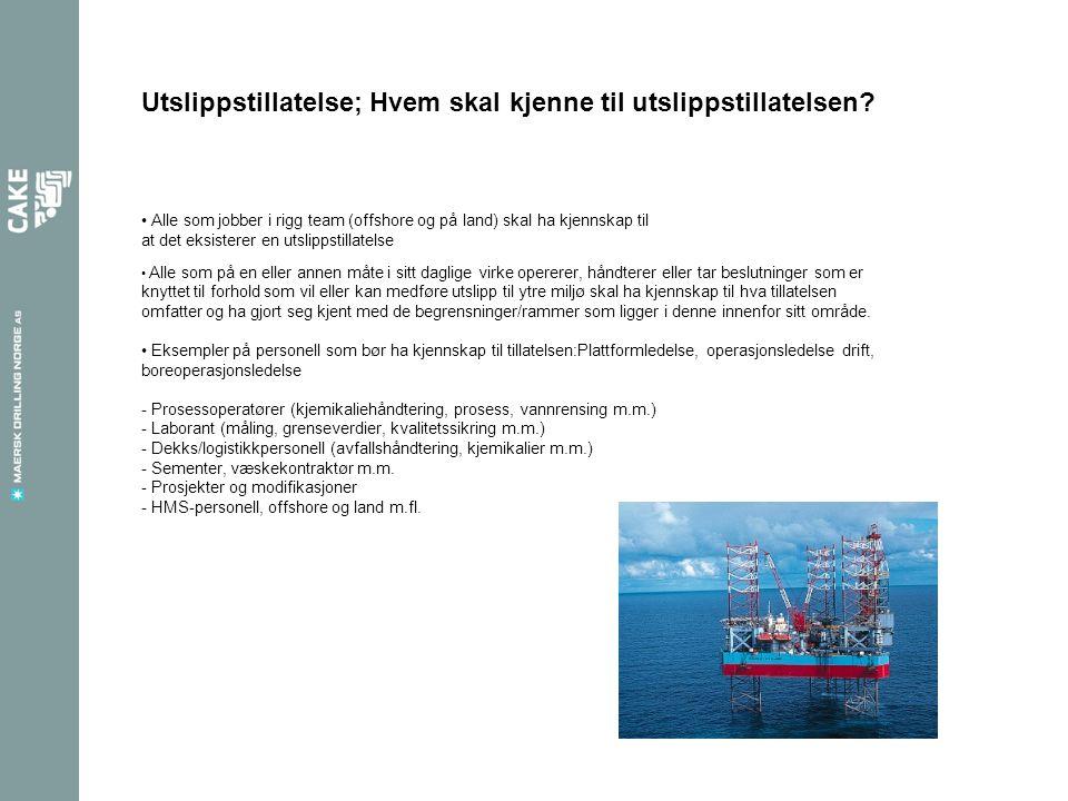 Alle som jobber i rigg team (offshore og på land) skal ha kjennskap til at det eksisterer en utslippstillatelse Utslippstillatelse; Hvem skal kjenne t