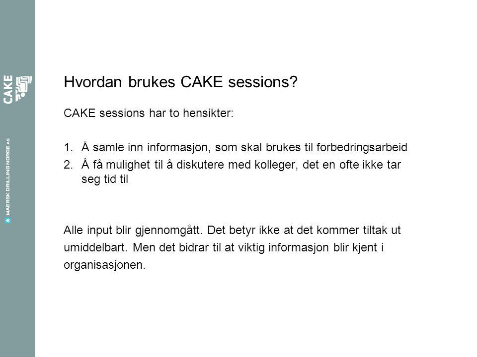 Hvordan brukes CAKE sessions? CAKE sessions har to hensikter: 1.Å samle inn informasjon, som skal brukes til forbedringsarbeid 2.Å få mulighet til å d