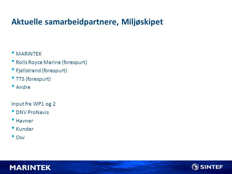 Aktuelle samarbeidpartnere, Miljøskipet MARINTEK Rolls Royce Marine (forespurt) Fjellstrand (forespurt) TTS (forespurt) Andre Input fra WP1 og 2 DNV P