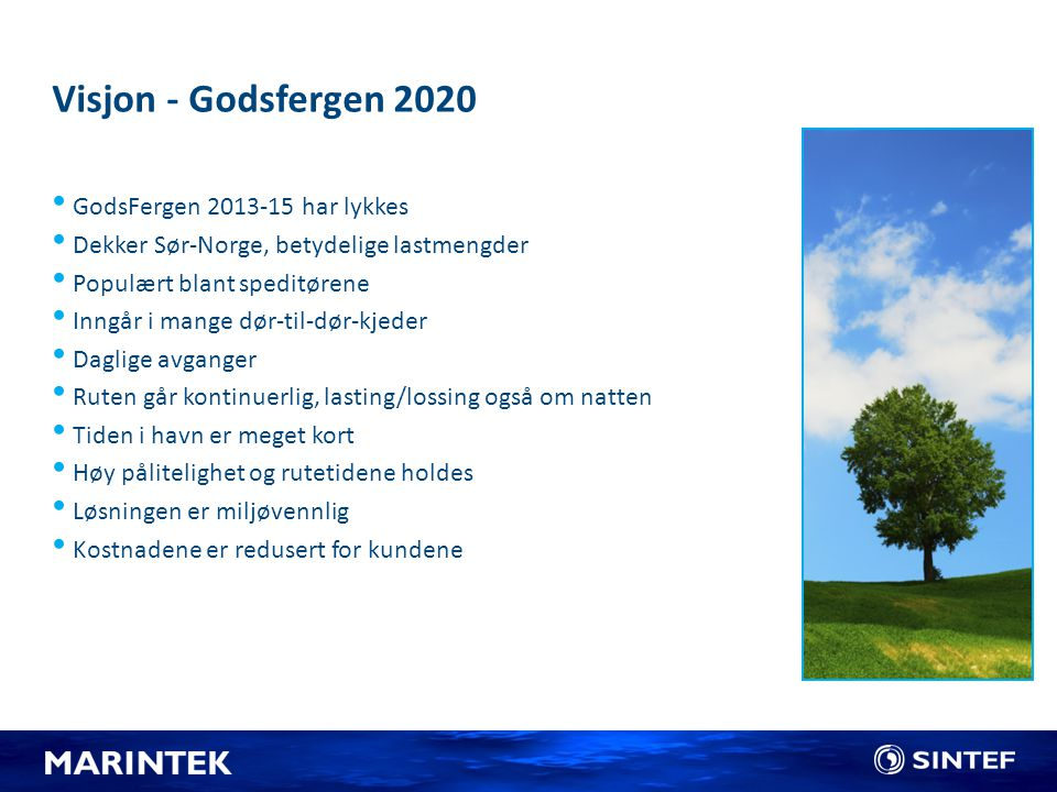Visjon - Godsfergen 2020 GodsFergen 2013-15 har lykkes Dekker Sør-Norge, betydelige lastmengder Populært blant speditørene Inngår i mange dør-til-dør-