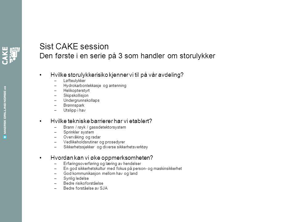 Sist CAKE session Den første i en serie på 3 som handler om storulykker Hvilke storulykkerisiko kjenner vi til på vår avdeling.