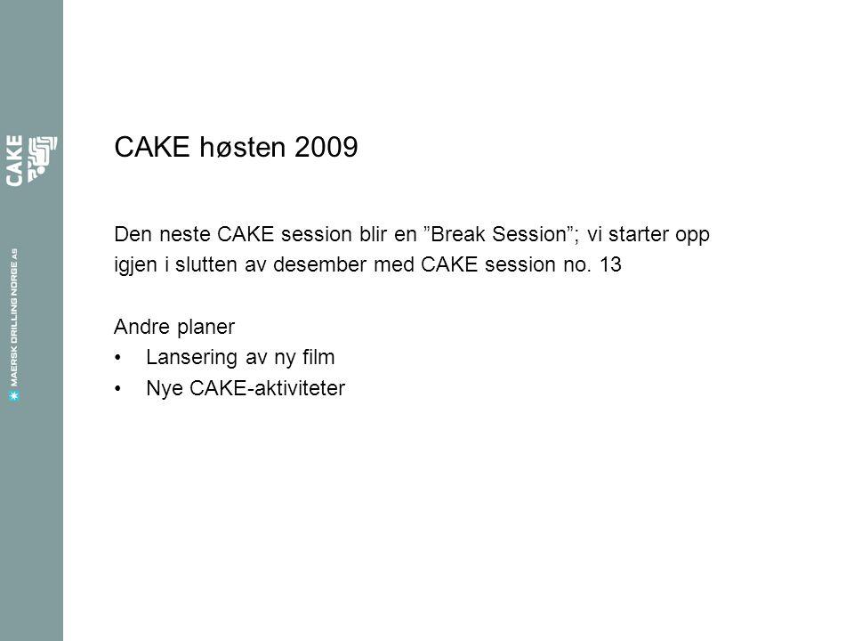 CAKE høsten 2009 Den neste CAKE session blir en Break Session ; vi starter opp igjen i slutten av desember med CAKE session no.