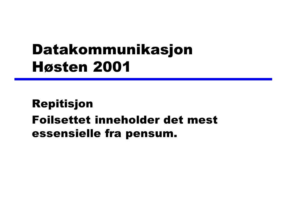 Datakommunikasjon Høsten 2001 Repitisjon Foilsettet inneholder det mest essensielle fra pensum.