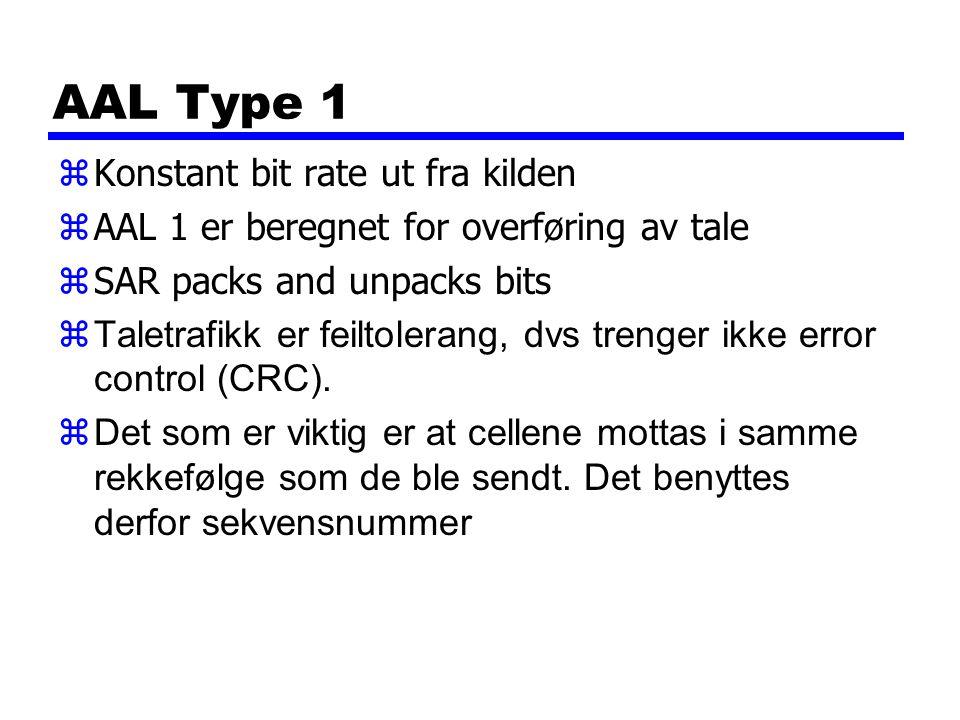 AAL Type 1 zKonstant bit rate ut fra kilden zAAL 1 er beregnet for overføring av tale zSAR packs and unpacks bits zTaletrafikk er feiltolerang, dvs trenger ikke error control (CRC).
