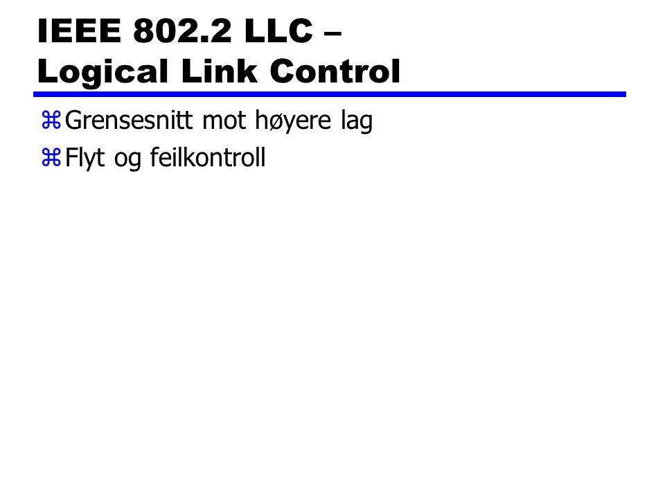 IEEE 802.2 LLC – Logical Link Control zGrensesnitt mot høyere lag zFlyt og feilkontroll