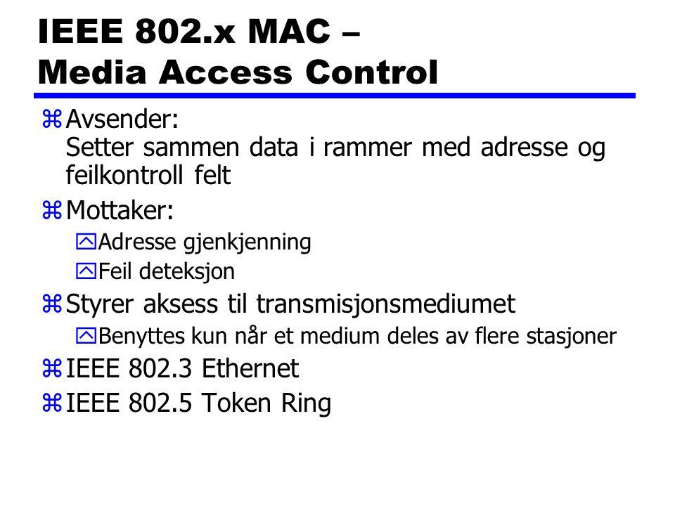 IEEE 802.x MAC – Media Access Control zAvsender: Setter sammen data i rammer med adresse og feilkontroll felt zMottaker: yAdresse gjenkjenning yFeil deteksjon zStyrer aksess til transmisjonsmediumet yBenyttes kun når et medium deles av flere stasjoner zIEEE 802.3 Ethernet zIEEE 802.5 Token Ring
