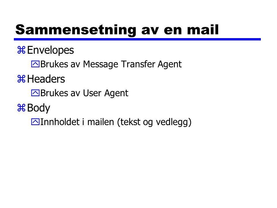 Sammensetning av en mail zEnvelopes yBrukes av Message Transfer Agent zHeaders yBrukes av User Agent zBody yInnholdet i mailen (tekst og vedlegg)