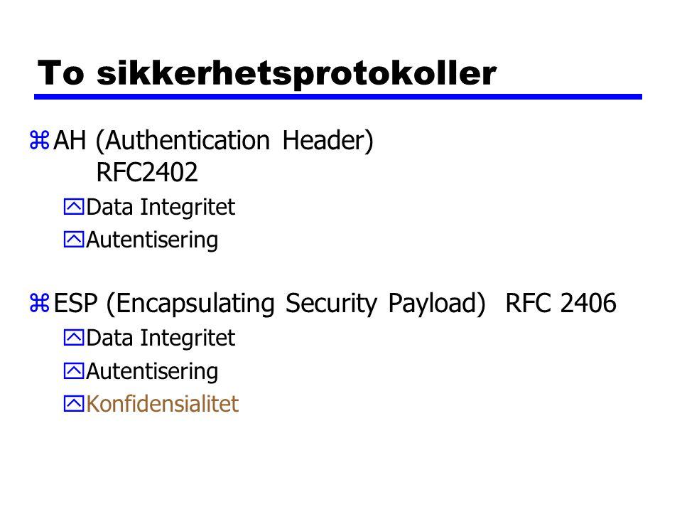 To sikkerhetsprotokoller zAH (Authentication Header) RFC2402 yData Integritet yAutentisering zESP (Encapsulating Security Payload)RFC 2406 yData Integritet yAutentisering yKonfidensialitet