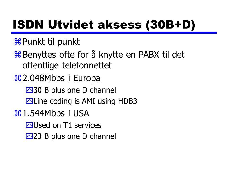 ISDN Utvidet aksess (30B+D) zPunkt til punkt zBenyttes ofte for å knytte en PABX til det offentlige telefonnettet z2.048Mbps i Europa y30 B plus one D channel yLine coding is AMI using HDB3 z1.544Mbps i USA yUsed on T1 services y23 B plus one D channel
