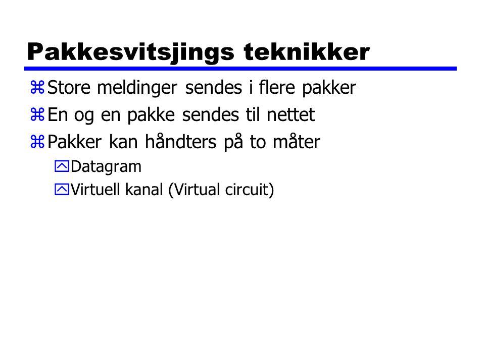 Pakkesvitsjings teknikker zStore meldinger sendes i flere pakker zEn og en pakke sendes til nettet zPakker kan håndters på to måter yDatagram yVirtuell kanal (Virtual circuit)