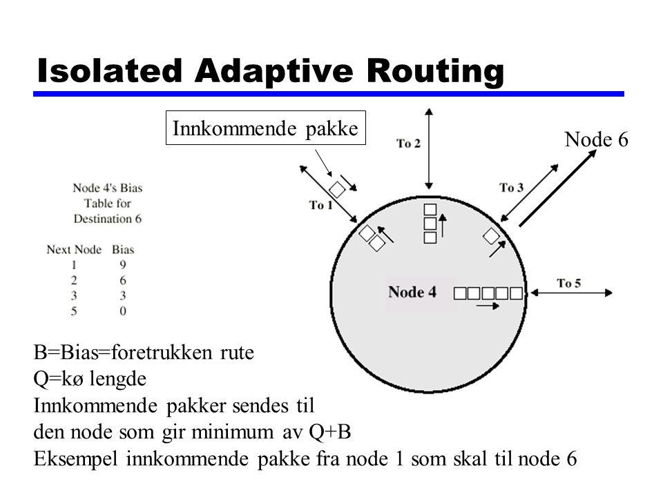 Isolated Adaptive Routing B=Bias=foretrukken rute Q=kø lengde Innkommende pakker sendes til den node som gir minimum av Q+B Eksempel innkommende pakke fra node 1 som skal til node 6 Innkommende pakke Node 6