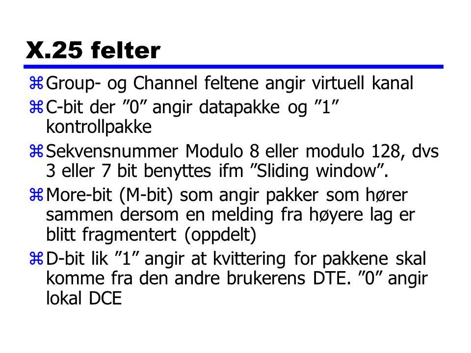 X.25 felter zGroup- og Channel feltene angir virtuell kanal zC-bit der 0 angir datapakke og 1 kontrollpakke zSekvensnummer Modulo 8 eller modulo 128, dvs 3 eller 7 bit benyttes ifm Sliding window .