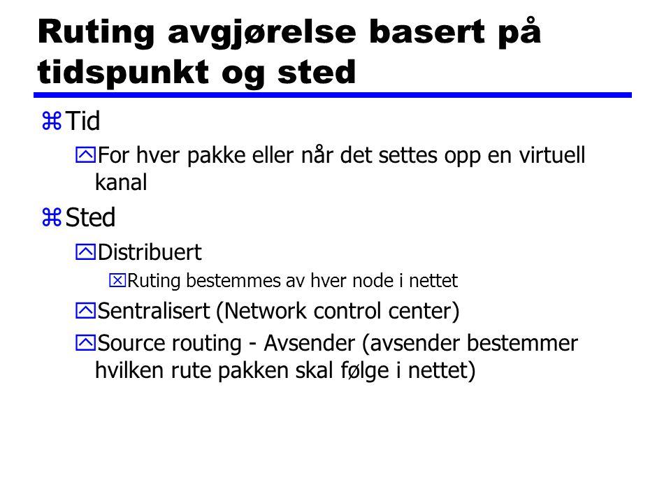 Ruting avgjørelse basert på tidspunkt og sted zTid yFor hver pakke eller når det settes opp en virtuell kanal zSted yDistribuert xRuting bestemmes av