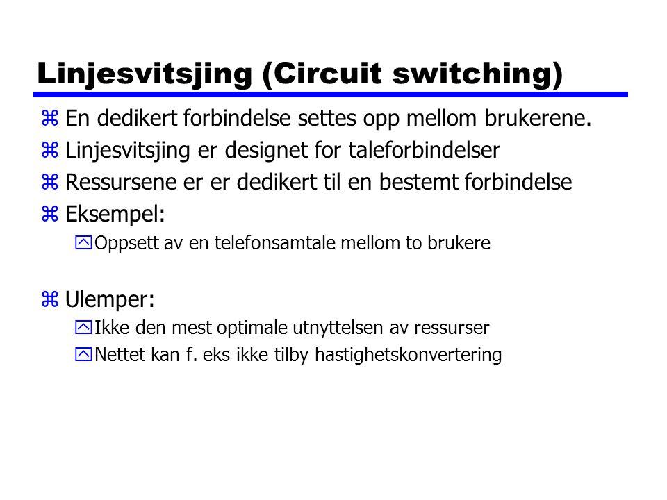 Linjesvitsjing (Circuit switching) zEn dedikert forbindelse settes opp mellom brukerene. zLinjesvitsjing er designet for taleforbindelser zRessursene