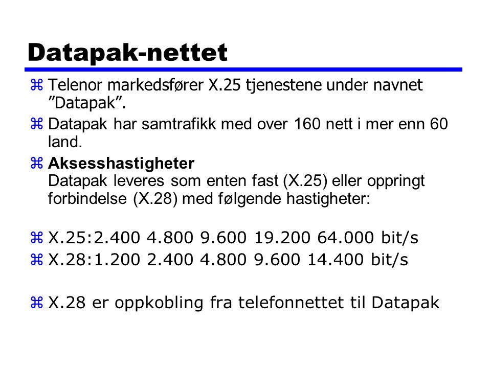"""Datapak-nettet zTelenor markedsfører X.25 tjenestene under navnet """"Datapak"""".  Datapak har samtrafikk med over 160 nett i mer enn 60 land.  Aksesshas"""