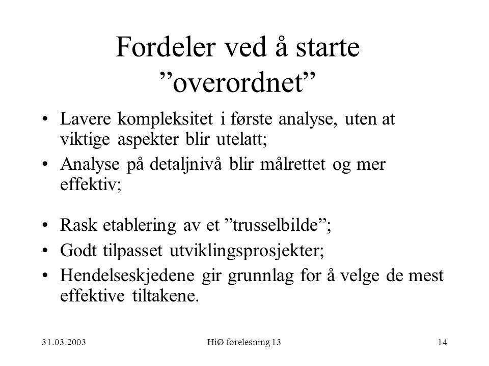 """31.03.2003HiØ forelesning 1314 Fordeler ved å starte """"overordnet"""" Lavere kompleksitet i første analyse, uten at viktige aspekter blir utelatt; Analyse"""