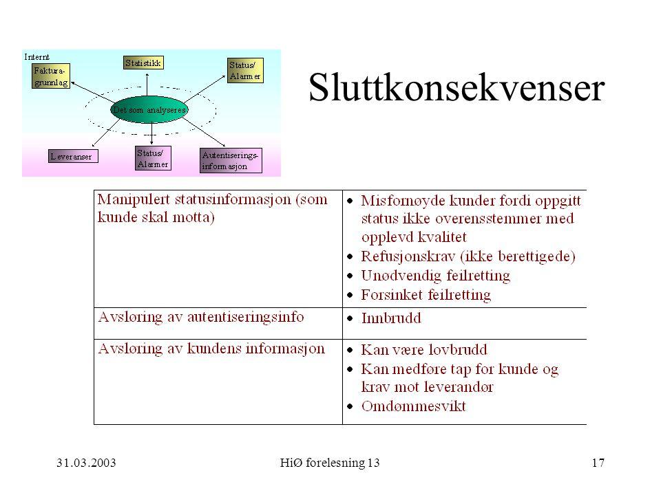 31.03.2003HiØ forelesning 1317 Sluttkonsekvenser