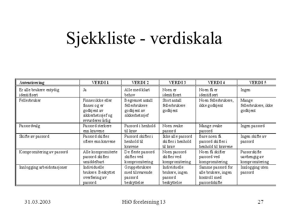 31.03.2003HiØ forelesning 1327 Sjekkliste - verdiskala