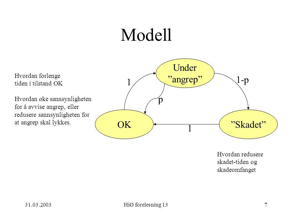 """31.03.2003HiØ forelesning 137 Modell OK""""Skadet"""" Under """"angrep"""" 1 p 1-p 1 Hvordan forlenge tiden i tilstand OK Hvordan øke sannsynligheten for å avvise"""