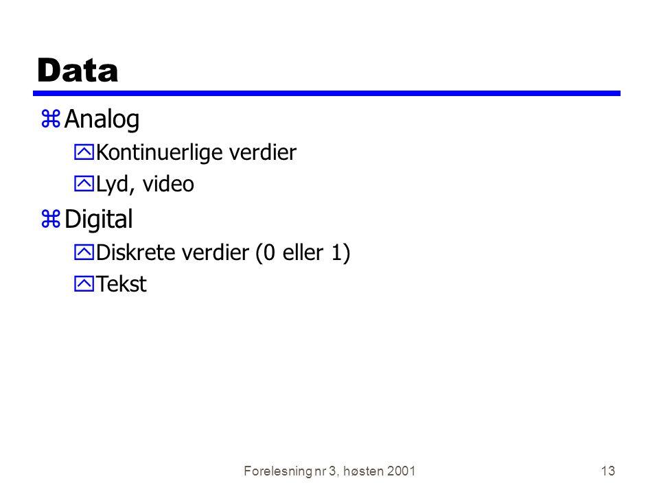 Forelesning nr 3, høsten 200113 Data zAnalog yKontinuerlige verdier yLyd, video zDigital yDiskrete verdier (0 eller 1) yTekst
