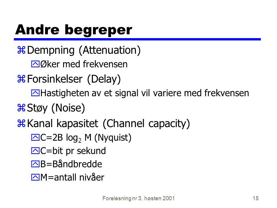 Forelesning nr 3, høsten 200115 Andre begreper zDempning (Attenuation) yØker med frekvensen zForsinkelser (Delay) yHastigheten av et signal vil varier