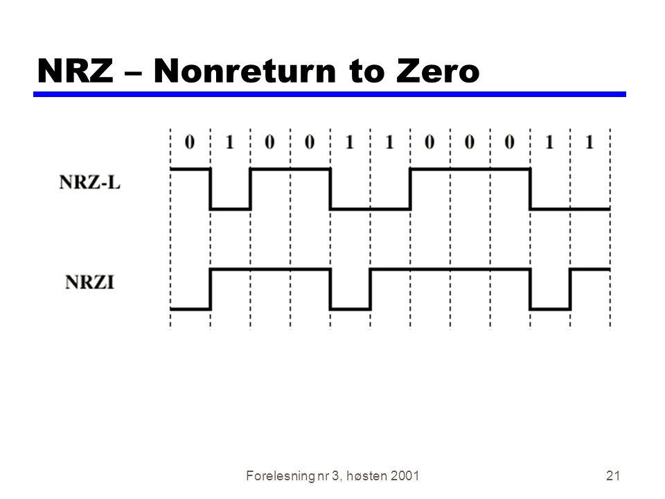 Forelesning nr 3, høsten 200121 NRZ – Nonreturn to Zero