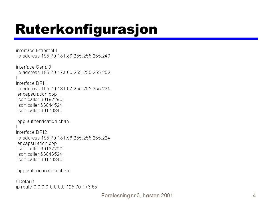 Forelesning nr 3, høsten 200135 Elektrisk spesifikasjon zDigitale signaler zVerdier tolkes som data eller kontroll avhengig av tilslutningspinne zMer enn -3v er binær 1, mer enn +3v er binær 0 (NRZ-L) zSignalhastighet < 20kbps zLengde på kabel <15m zFor kontroll, mer enn -3v er av, +3v er på