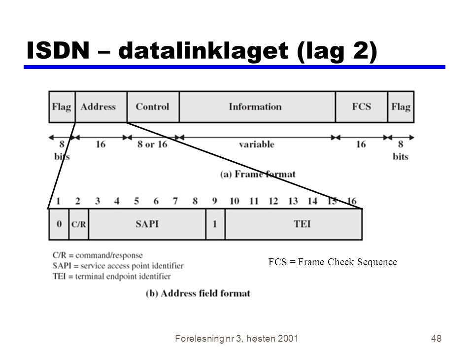 Forelesning nr 3, høsten 200148 ISDN – datalinklaget (lag 2) FCS = Frame Check Sequence