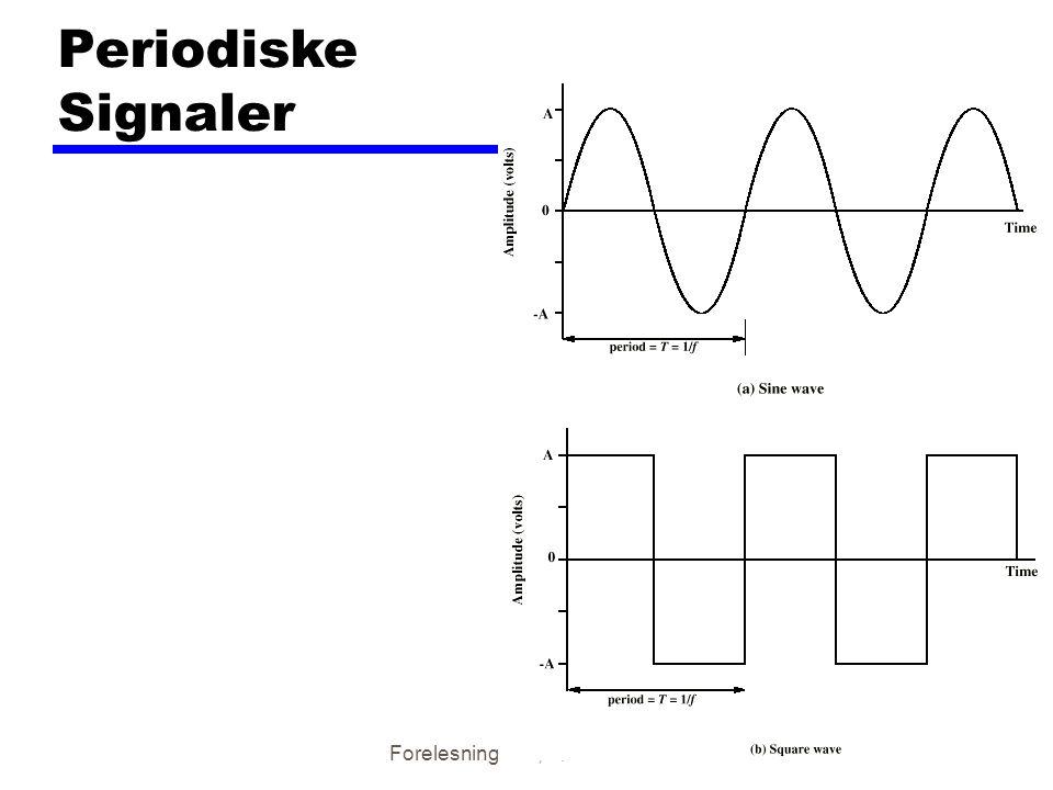 Forelesning nr 3, høsten 200110 Sinusbølge zMaksimal amplityde (A) ymaksimal signalstyrke yspenning i volts zFrekvens (f) yHastighet på signalendring yFrekvens måles i Hertz (Hz) yPeriode = tid for en repitisjon (T) yT = 1/f