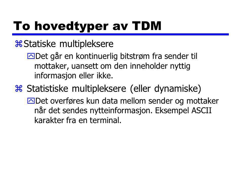 To hovedtyper av TDM zStatiske multipleksere yDet går en kontinuerlig bitstrøm fra sender til mottaker, uansett om den inneholder nyttig informasjon eller ikke.