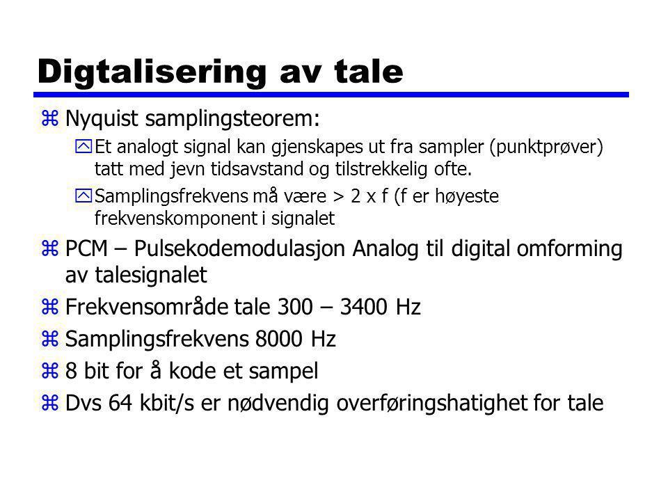 Digtalisering av tale zNyquist samplingsteorem: yEt analogt signal kan gjenskapes ut fra sampler (punktprøver) tatt med jevn tidsavstand og tilstrekkelig ofte.