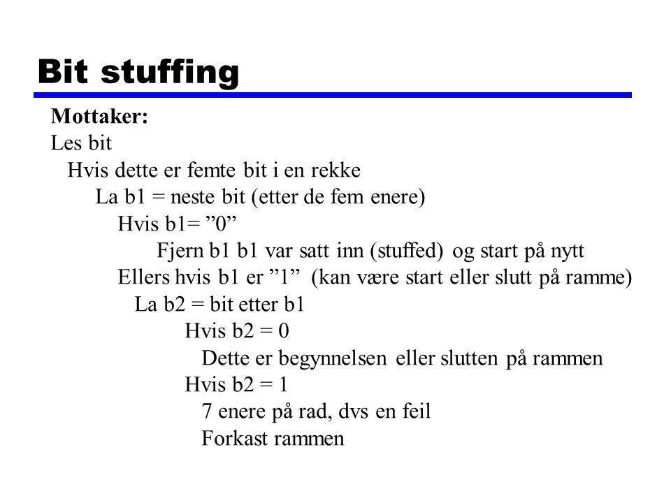 Bit stuffing Flere eksempler: 01111110  011111010 (01111110 =  (tilde)) 011111010  0111110010