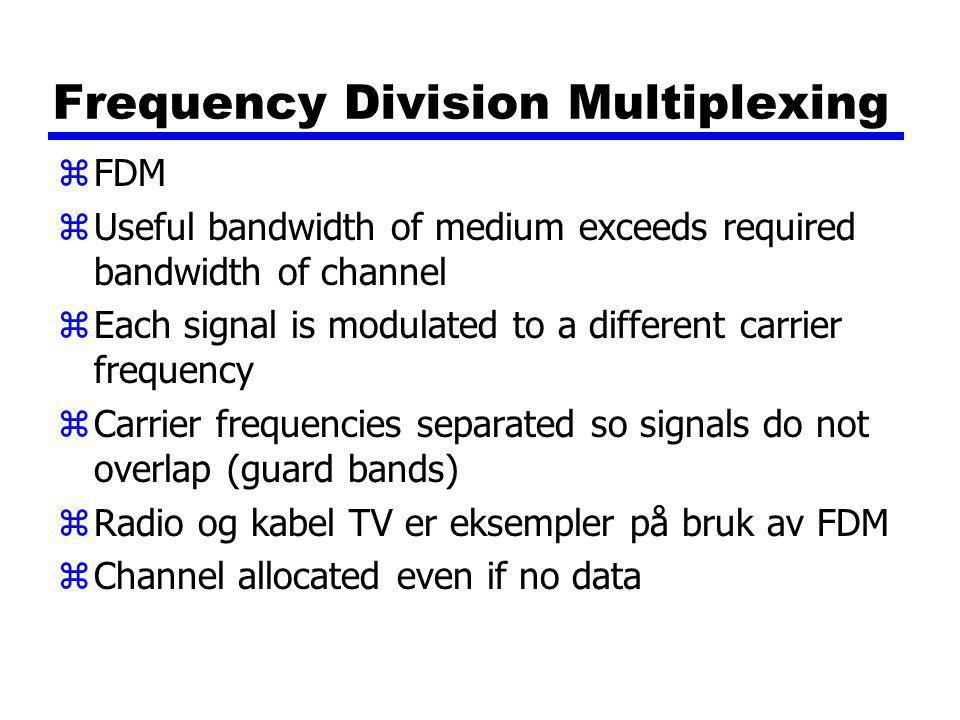 ADSL Design zAsymmetric yGreater capacity downstream than upstream zFrequency division multiplexing yLowest 25kHz for voice xPlain old telephone service (POTS) yUse echo cancellation or FDM to give two bands yUse FDM within bands zRekkevidde 5.5km