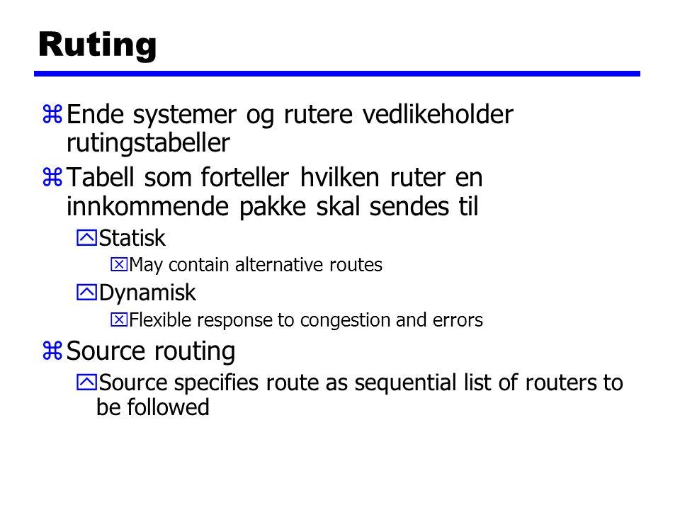 Ruting zEnde systemer og rutere vedlikeholder rutingstabeller zTabell som forteller hvilken ruter en innkommende pakke skal sendes til yStatisk xMay c