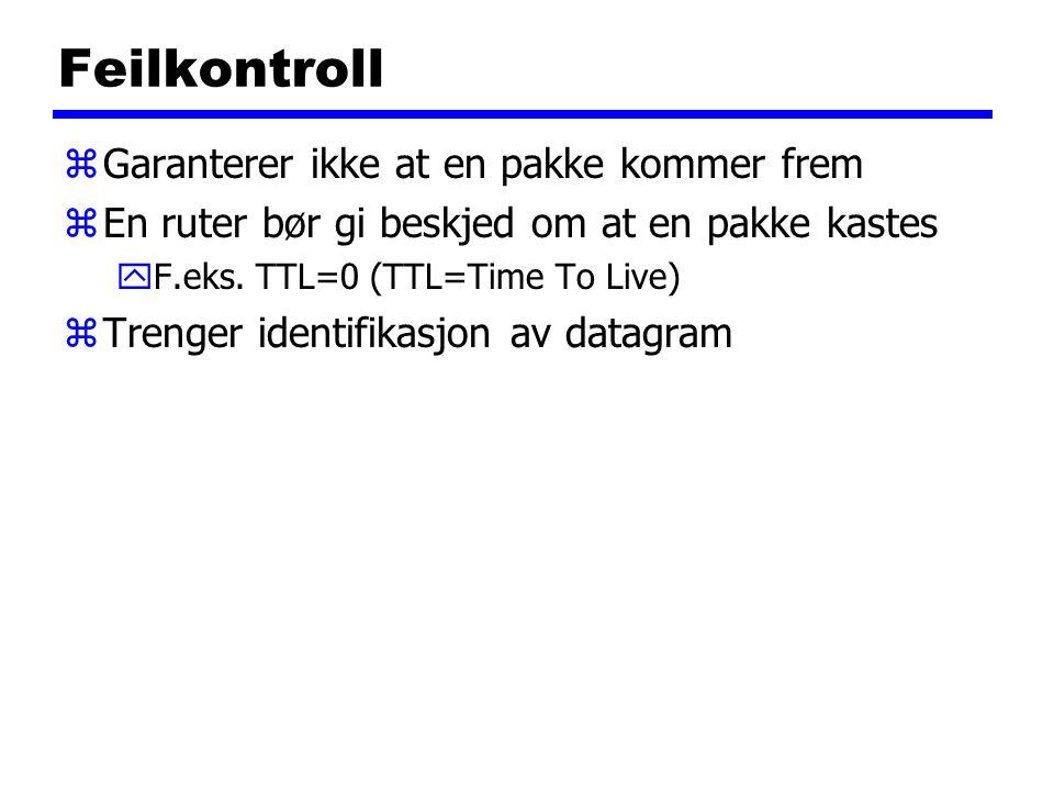Feilkontroll zGaranterer ikke at en pakke kommer frem zEn ruter bør gi beskjed om at en pakke kastes yF.eks. TTL=0 (TTL=Time To Live) zTrenger identif