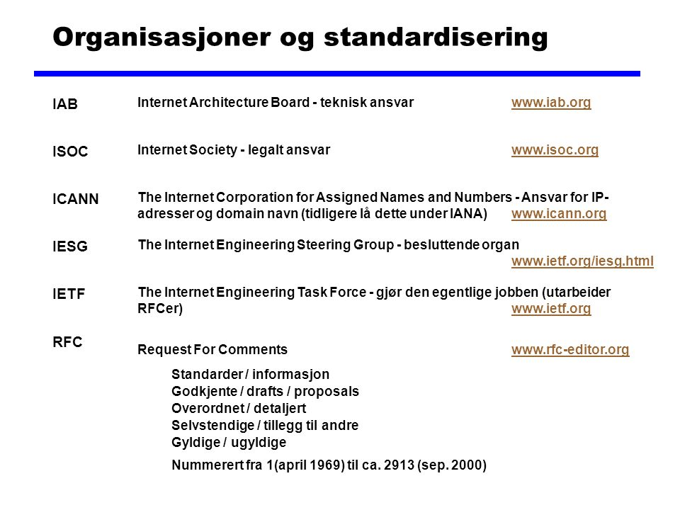 Organisasjoner og standardisering IAB ISOC ICANN IESG IETF RFC Internet Architecture Board - teknisk ansvarwww.iab.orgwww.iab.org Internet Society - legalt ansvarwww.isoc.orgwww.isoc.org The Internet Corporation for Assigned Names and Numbers - Ansvar for IP- adresser og domain navn (tidligere lå dette under IANA)www.icann.orgwww.icann.org The Internet Engineering Steering Group - besluttende organ www.ietf.org/iesg.html www.ietf.org/iesg.html The Internet Engineering Task Force - gjør den egentlige jobben (utarbeider RFCer)www.ietf.orgwww.ietf.org Request For Commentswww.rfc-editor.orgwww.rfc-editor.org Standarder / informasjon Overordnet / detaljert Gyldige / ugyldige Nummerert fra 1(april 1969) til ca.