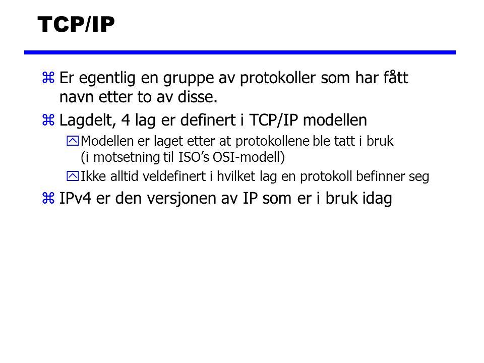 TCP/IP zEr egentlig en gruppe av protokoller som har fått navn etter to av disse. zLagdelt, 4 lag er definert i TCP/IP modellen yModellen er laget ett