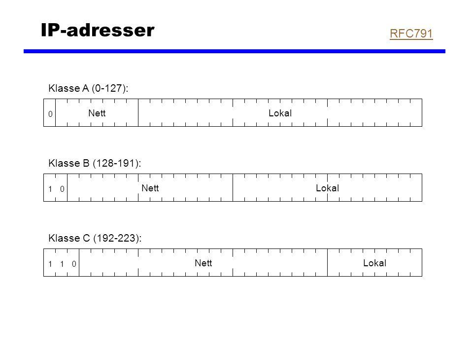 IP-adresser 0 NettLokal Klasse A (0-127): 01 NettLokal Klasse B (128-191): 011 NettLokal Klasse C (192-223): RFC791
