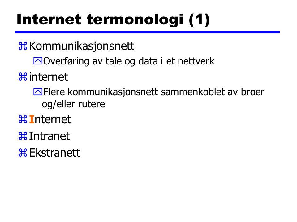 Internet termonologi (1) zKommunikasjonsnett yOverføring av tale og data i et nettverk zinternet yFlere kommunikasjonsnett sammenkoblet av broer og/el