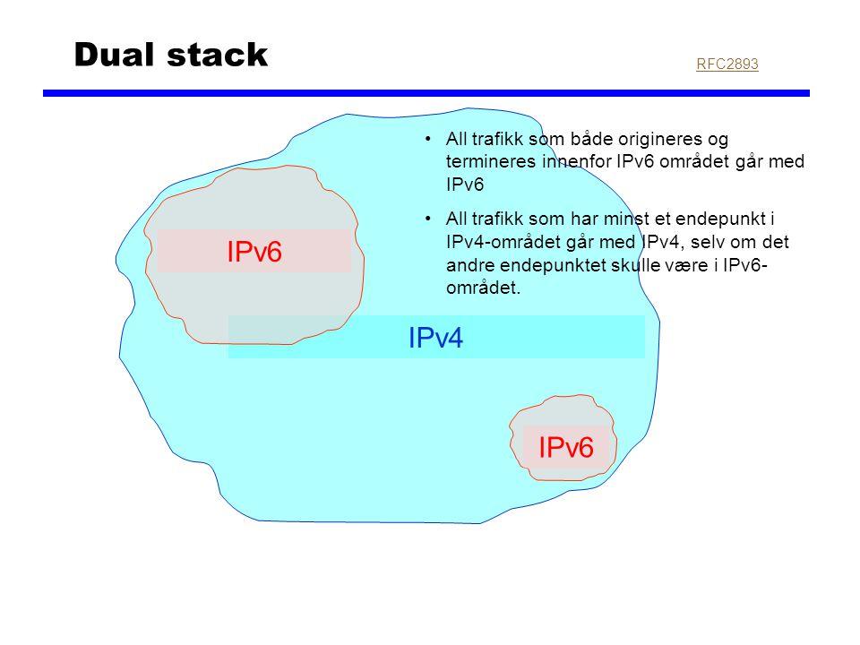 IPv4 Dual stack IPv6 RFC2893 All trafikk som både origineres og termineres innenfor IPv6 området går med IPv6 All trafikk som har minst et endepunkt i