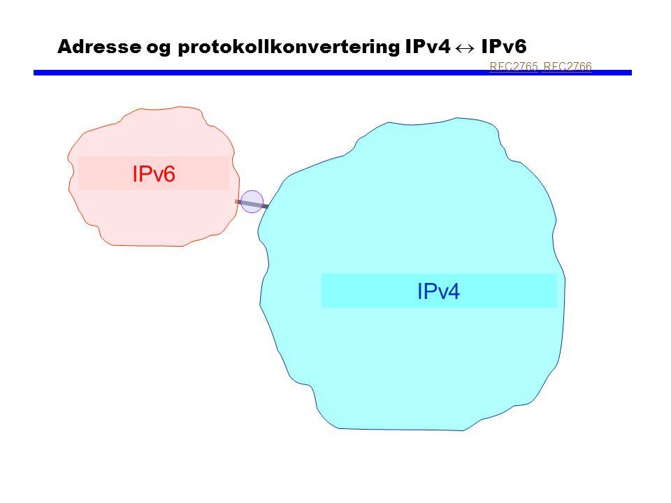 Adresse og protokollkonvertering IPv4  IPv6 IPv4 IPv6 RFC2765RFC2765, RFC2766 RFC2766