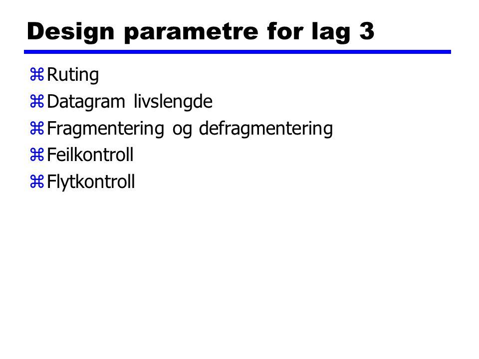 Design parametre for lag 3 zRuting zDatagram livslengde zFragmentering og defragmentering zFeilkontroll zFlytkontroll