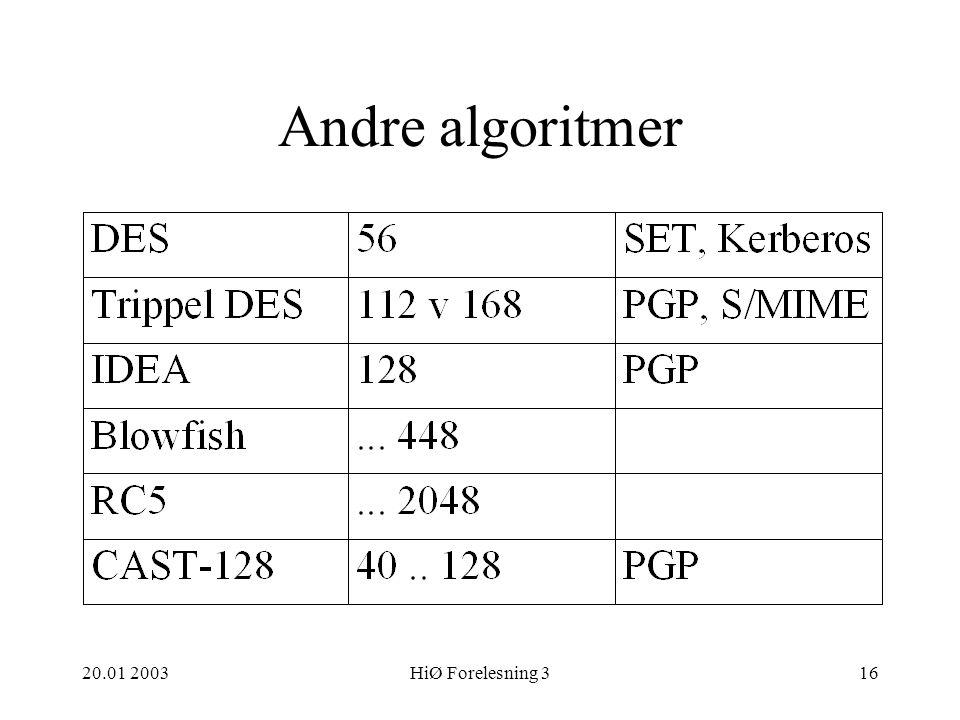 20.01 2003HiØ Forelesning 316 Andre algoritmer