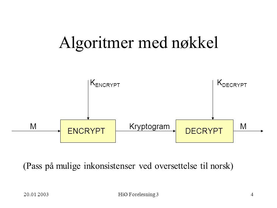 20.01 2003HiØ Forelesning 34 Algoritmer med nøkkel ENCRYPTDECRYPT MKryptogramM K ENCRYPT K DECRYPT (Pass på mulige inkonsistenser ved oversettelse til norsk)