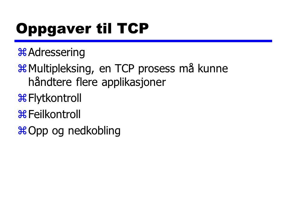 Oppgaver til TCP zAdressering zMultipleksing, en TCP prosess må kunne håndtere flere applikasjoner zFlytkontroll zFeilkontroll zOpp og nedkobling