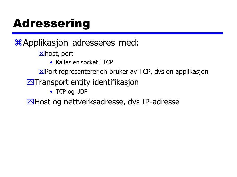 Adressering zApplikasjon adresseres med: xhost, port Kalles en socket i TCP xPort representerer en bruker av TCP, dvs en applikasjon yTransport entity identifikasjon TCP og UDP yHost og nettverksadresse, dvs IP-adresse
